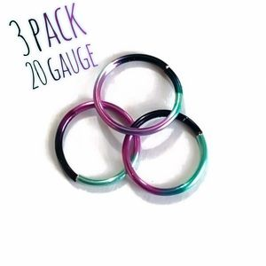 3 Pack Rainbow Colored Nose Ring Cartilage Hoop